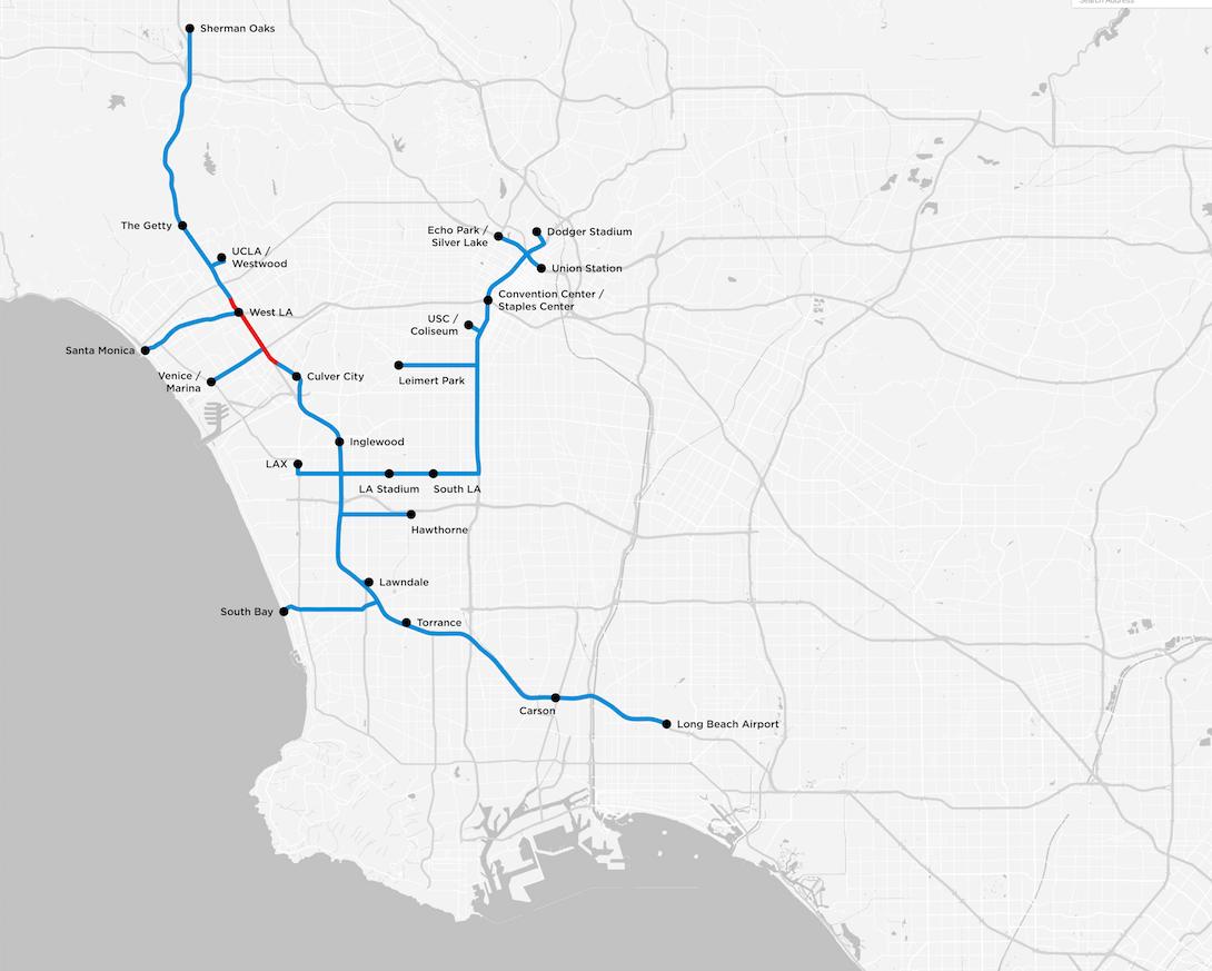"""Mappa dei tunnel per i bus di Los Angeles, in rosso il tracciato di prova per il quale """"The Boring Company"""" ha già presentato una richiesta di permesso di scavo."""