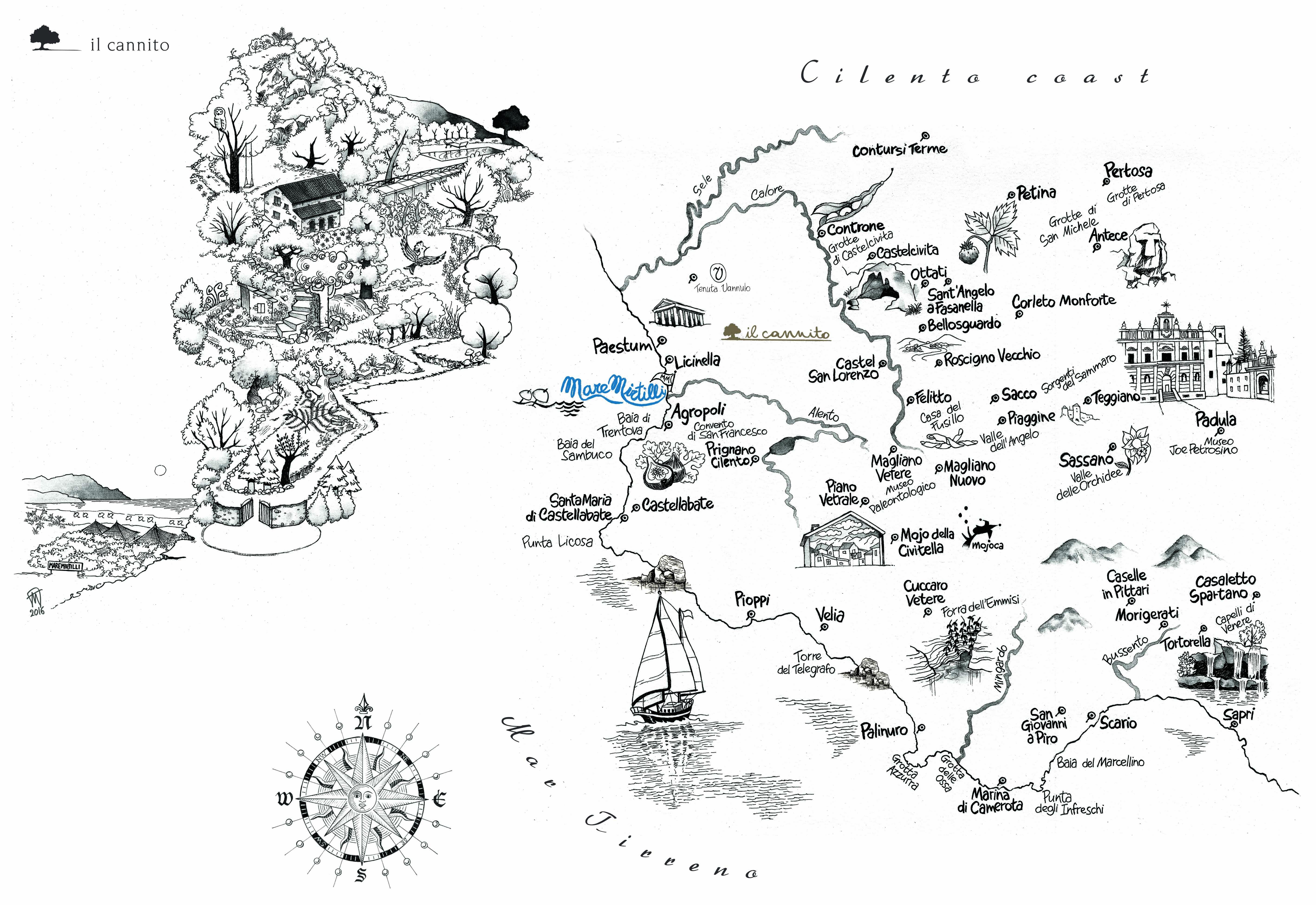Mappa di Paestum e del Cilento