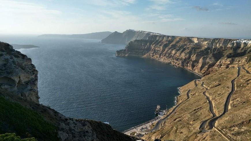 La caldera di Thera, a Santorini
