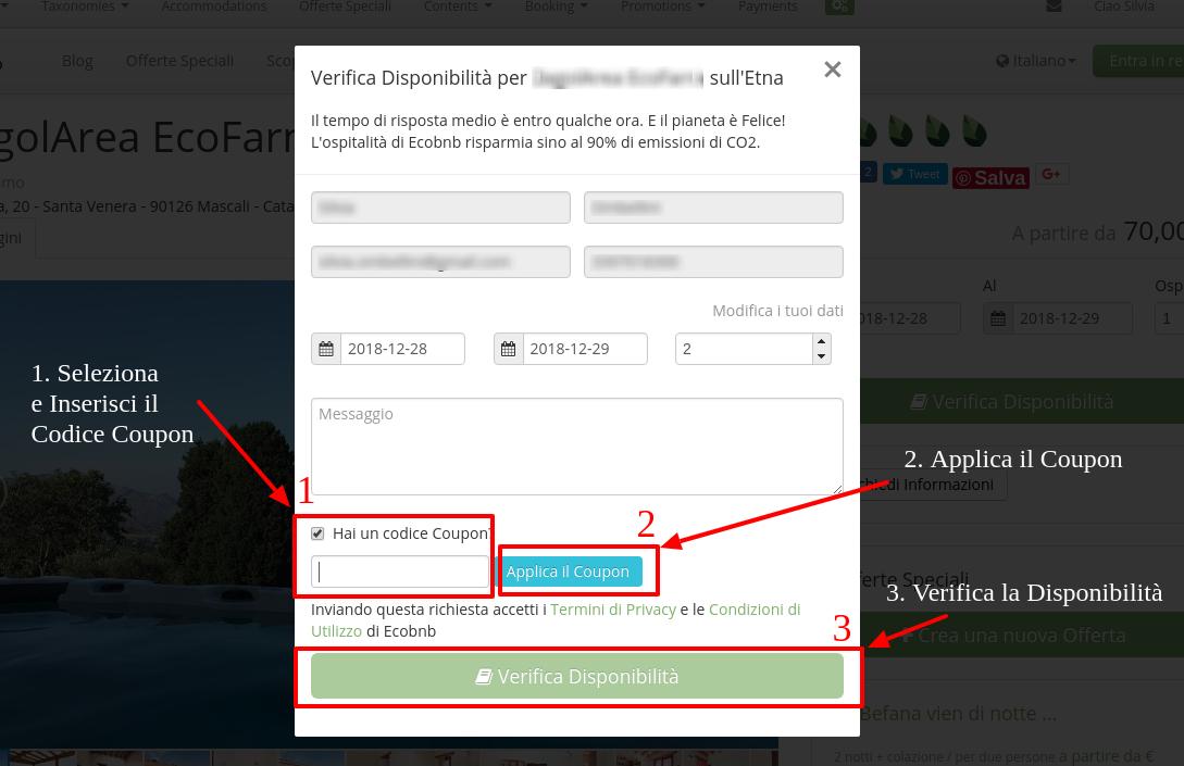 Come inserire il Codice Coupon della tua Gift Card in una richiesta di disponibilità su Ecobnb