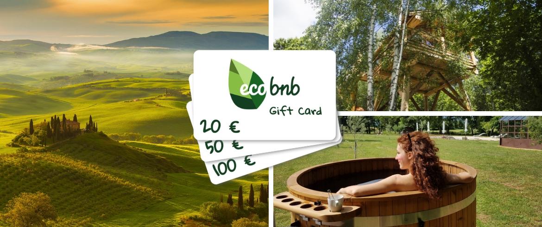 Cerchi un'idea regalo originale e sostenibile? Scegli la Gift Card di Ecobnb per regalare a chi ami un'esperienza unica e green, in armonia con la natura