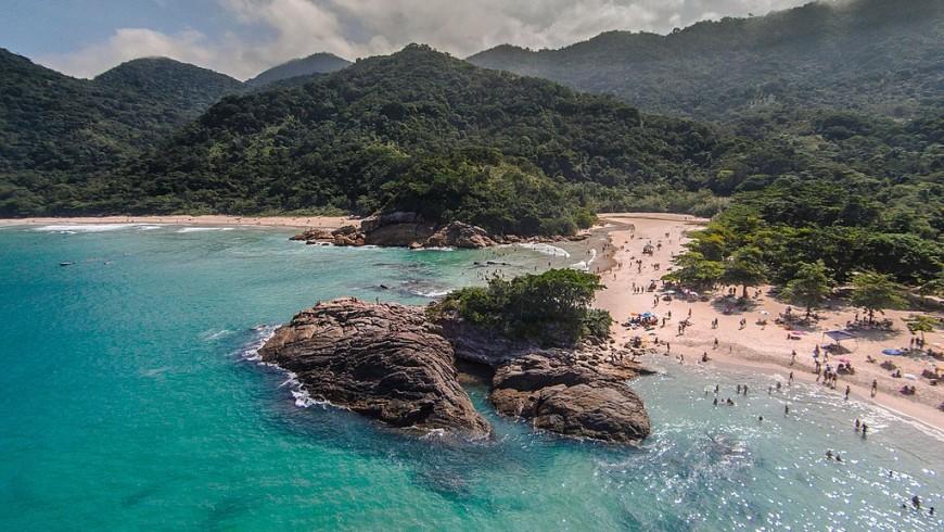 Vista aerea della spiaggia della Ilha Grande, Brasile