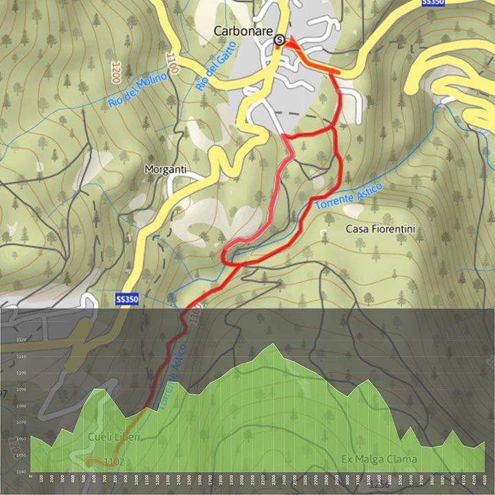 mappa del percorso da Carbonare a Cueli