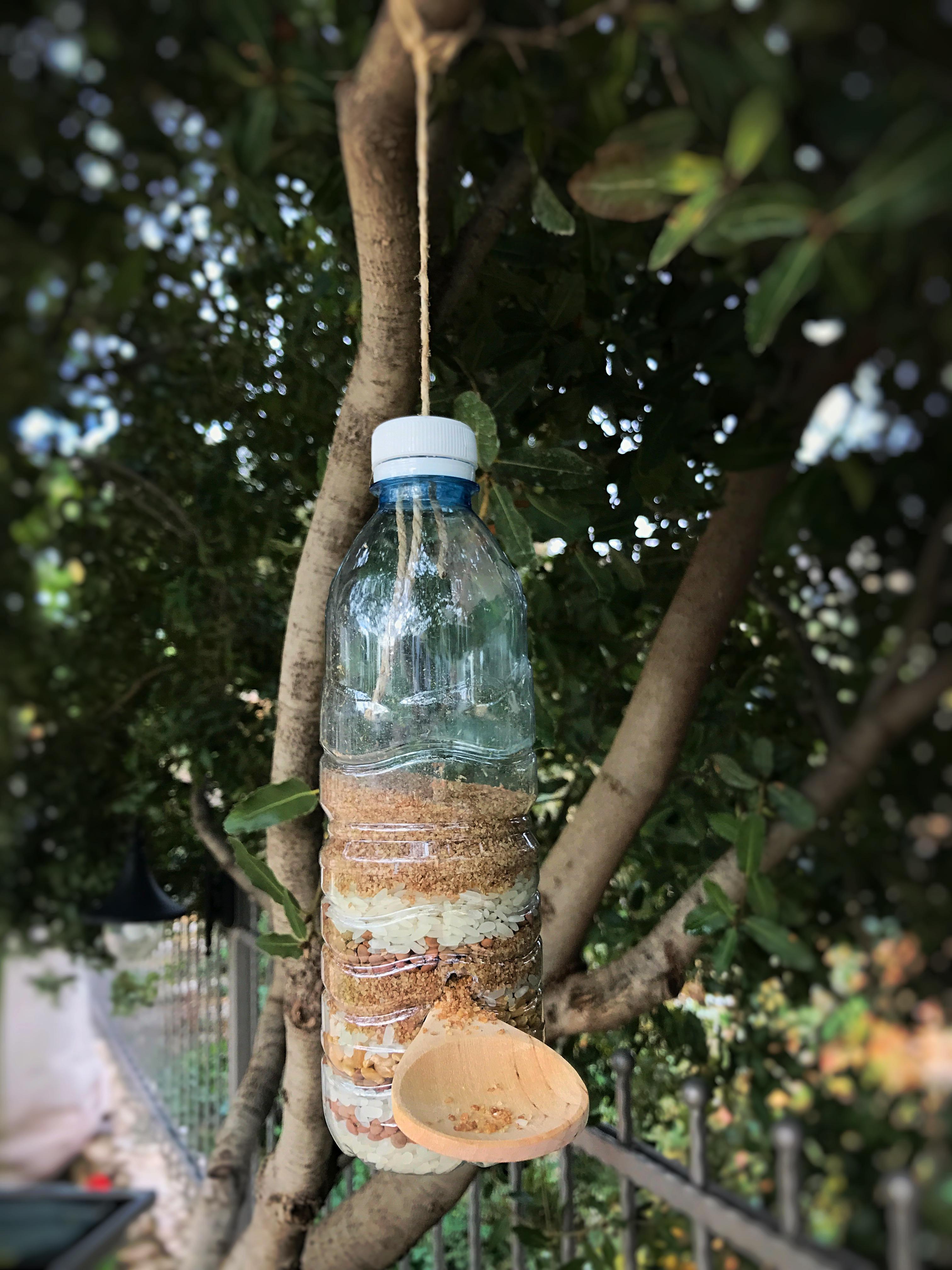 mangiatoia per uccellini realizzata reciclando una bottiglia di plastica