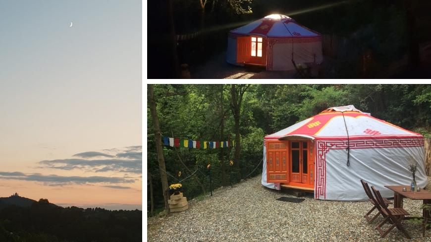 vista su Torino dalla Yurta di Ecobnb e yurta di notte