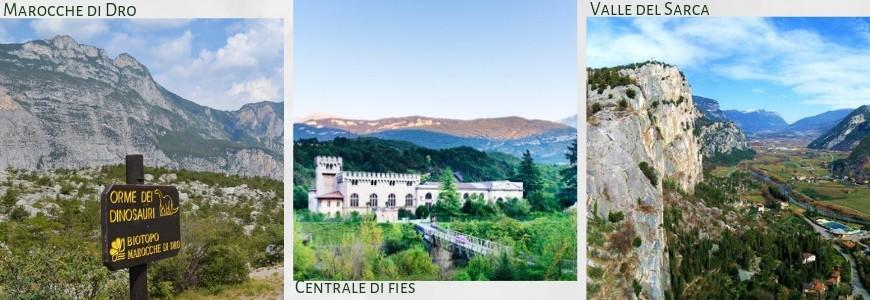Collage delle foto delle tre esperienze suggerite: da sinistra verso destra, la riserva naturale di Marocche di Dro, la centrale idroelettrica di Fies, la valle del Sarca, con un costone di roccia in primo piano.