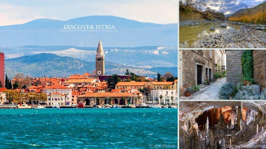 Collage di immagini di diversi paesaggi dell'Istria. A sinistra l'immagine più grande raffigura la città di Capodistria; a destra, dall'alto in basso, rispettivamente il fiume Dragogna con la sua natura incontaminata, un vicolo della cittadina di Grisignana e infine le grotte di Postumia