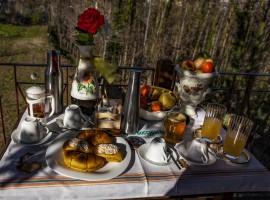 Tavolo della prima colazione con prodotti tipici e frutta dell'orto biologico
