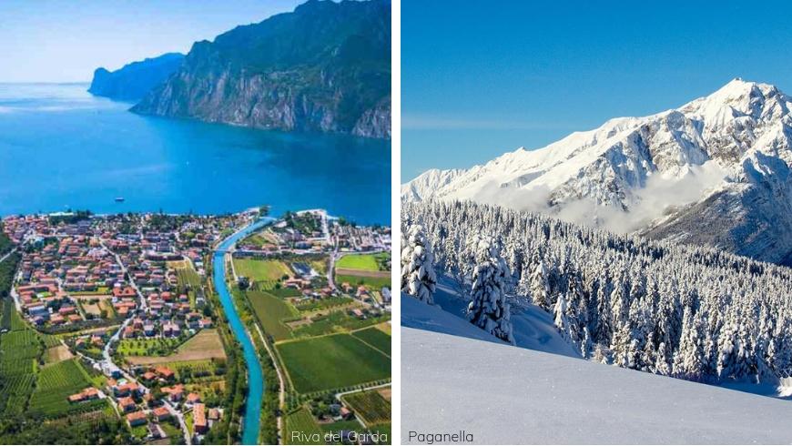 A destra, le piste della località sciistica della Paganella; a sinistra, vista aerea su Riva del Garda
