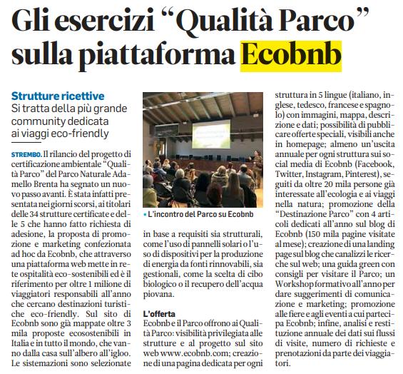 Quotidiano Il Trentino: ArticoloGli Esercizi Qualità Parco sulla Piattaforma Ecobnb