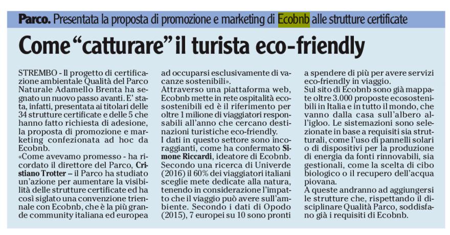 Come Catturare il Turista Eco-Friendly, articolo sul Quotidiano LADIGE che parla di Ecobnb