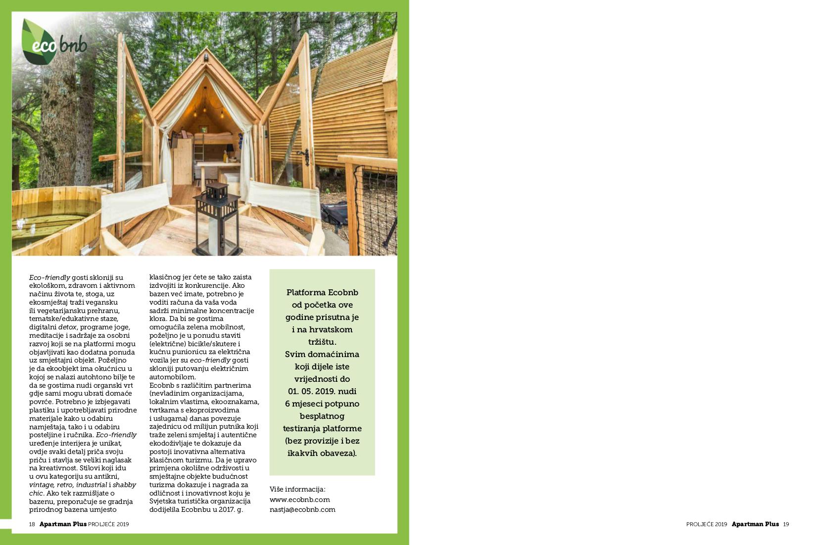 Articolo dedicato ad Ecobnb, pubblicato sulla rivista croata Apartman Plus