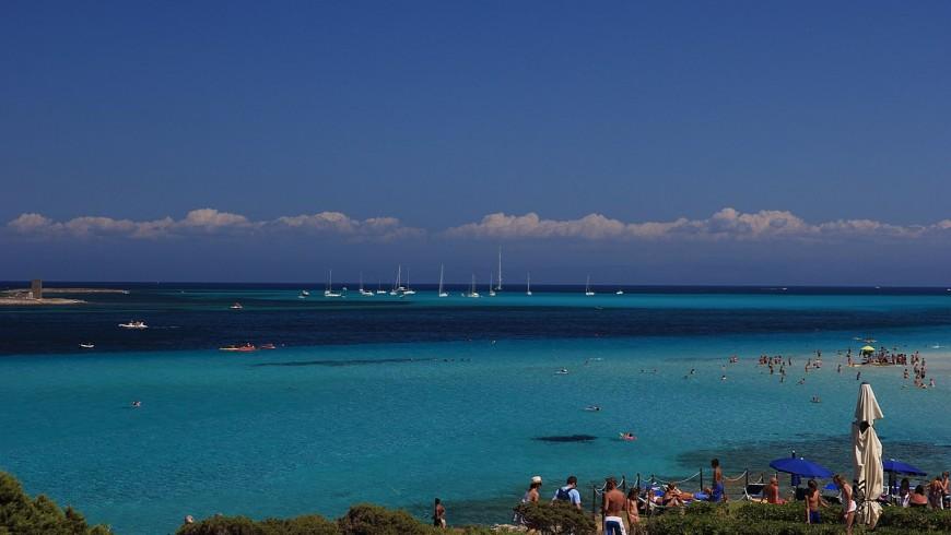 spiaggia La Pelosa, in Sardegna