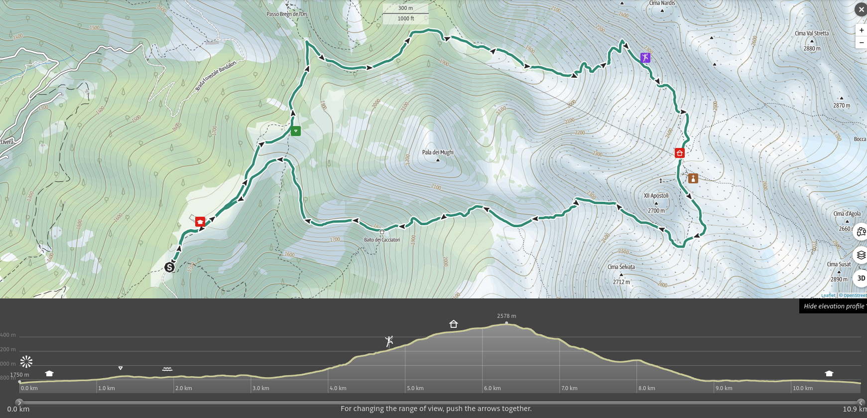 La Val Algone e l'Altipiano di Movlina, mappa dell'itinerario