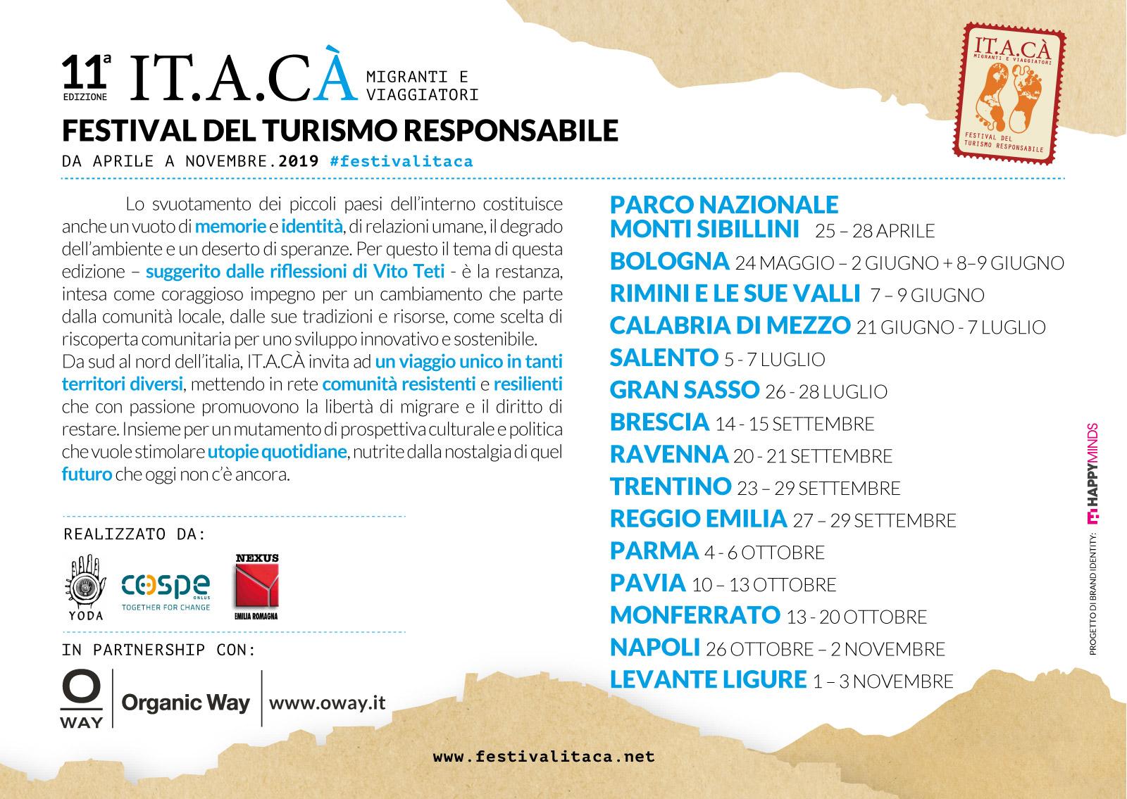 Restanza, tema del Festival ITACA' 2019