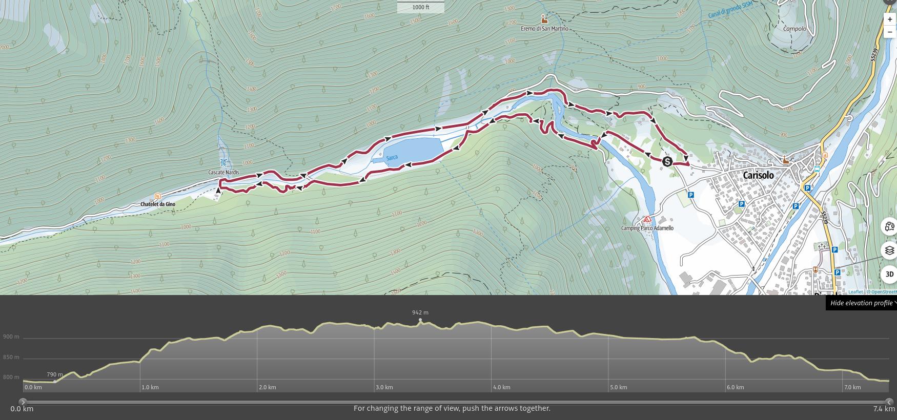 mappa dell'itinerario alle cascate della Val Genova, Parco Adamello Brenta