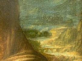 Dettaglio della Gioconta con il ponte e il fiume Adda