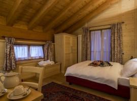stanza con travi e pareti in legno
