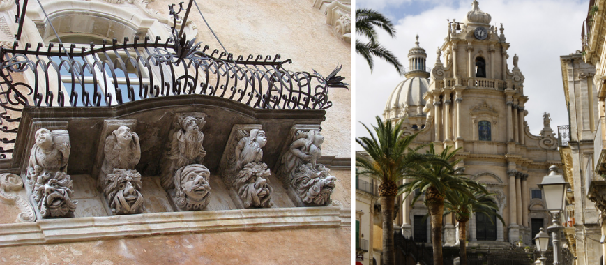 A sinistra, dettaglio decorativo barocco di Palazzo Cosentini. A destra, il Duomo di San Giorgio a Ragusa Ibla.