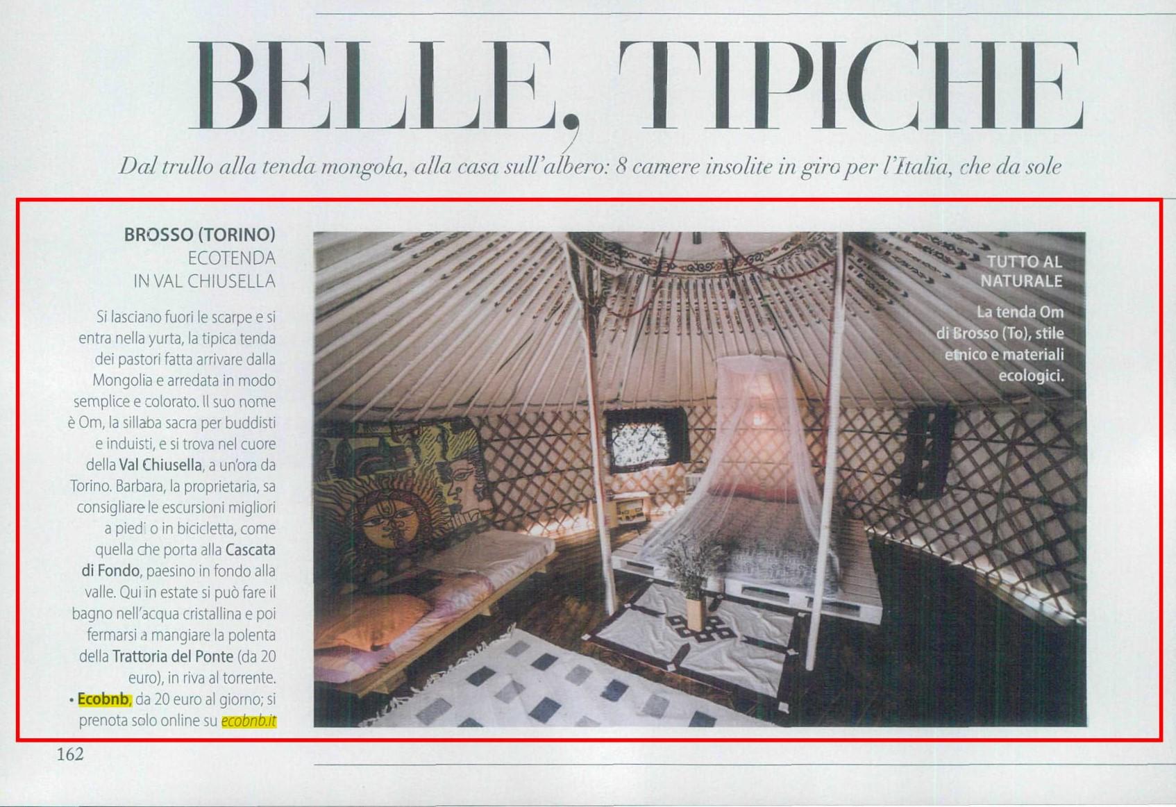 yurta in Val Chiusella, Ecobnb sulla rivista F
