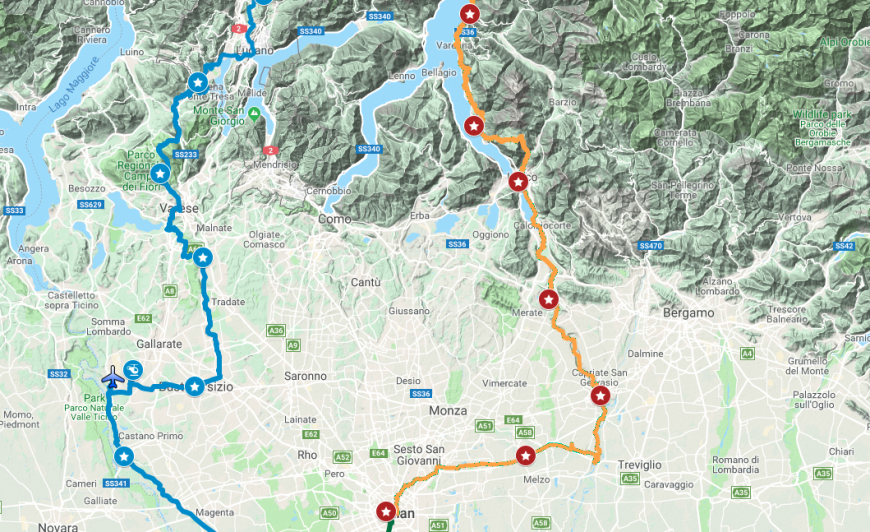 The Leonardo's route: first stage from Milan to Lecco