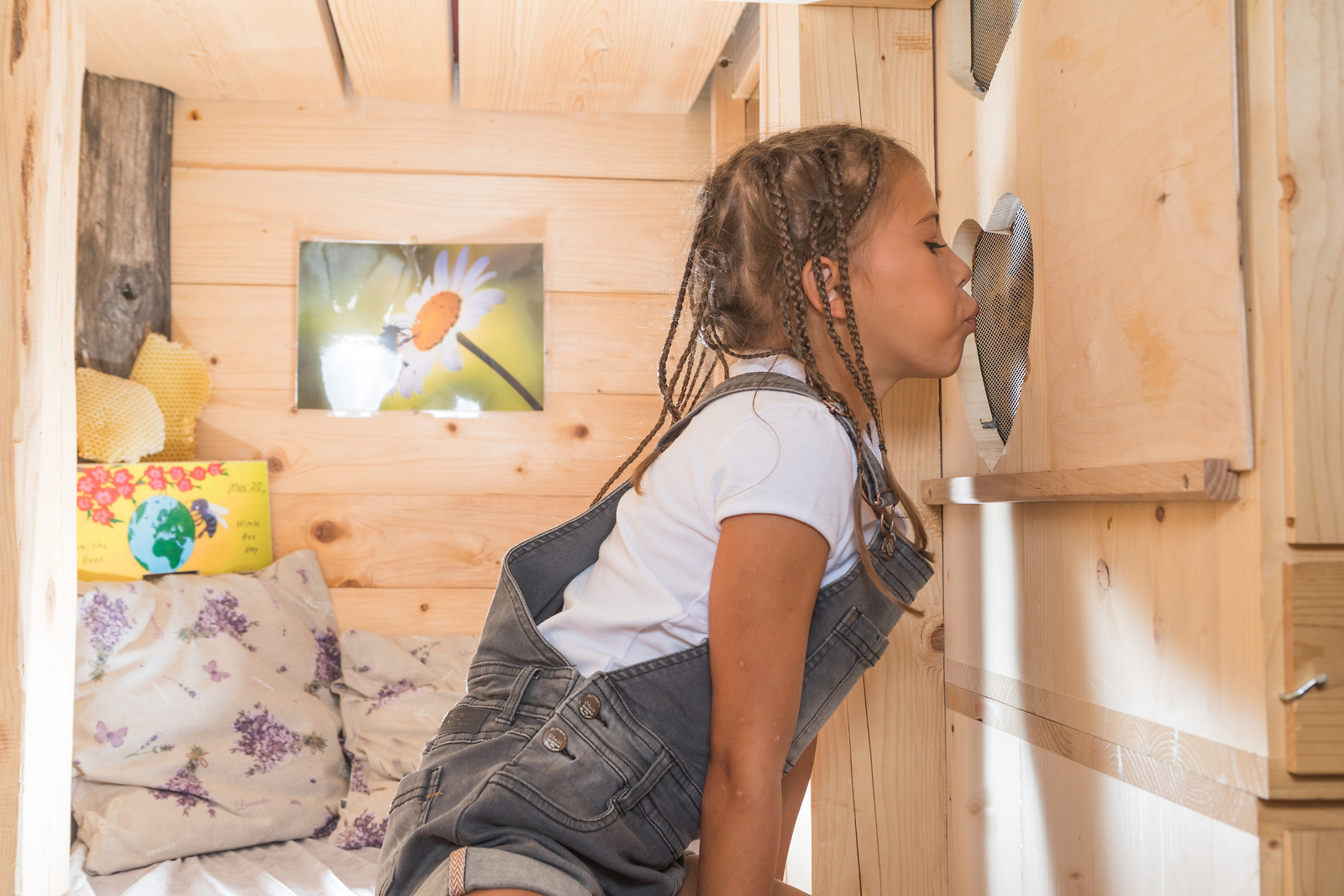una bambina respira l'aria dagli alveari dalla sua stanza