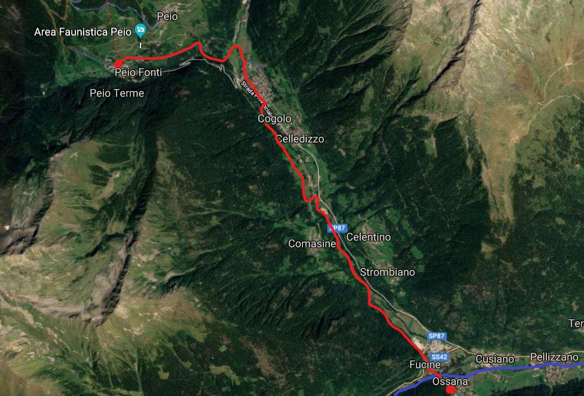 mappa del tracciato in mountain bike in val di peio