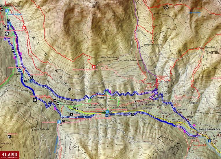 Mappa dell'itinerario alle cascate di SAÈNT in Val di Rabbit