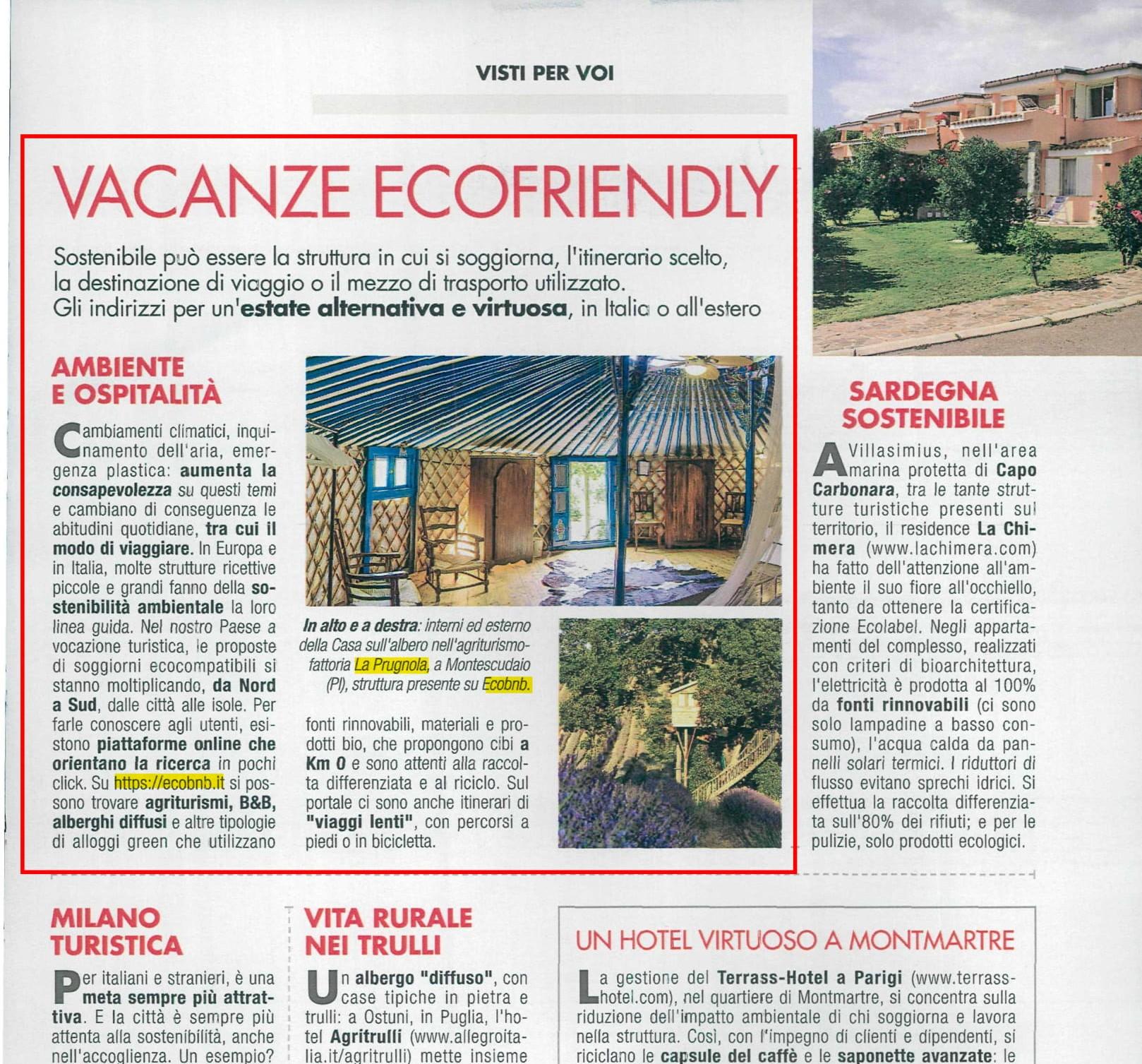 La rivista Cose di Casa parla di ecobnb