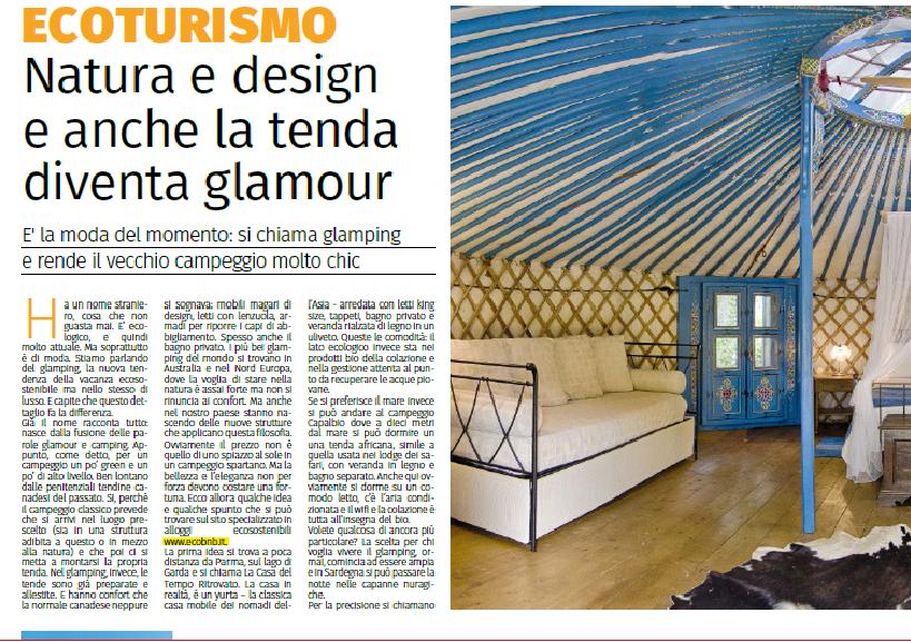 La Gazzetta di Parma parla di glamping