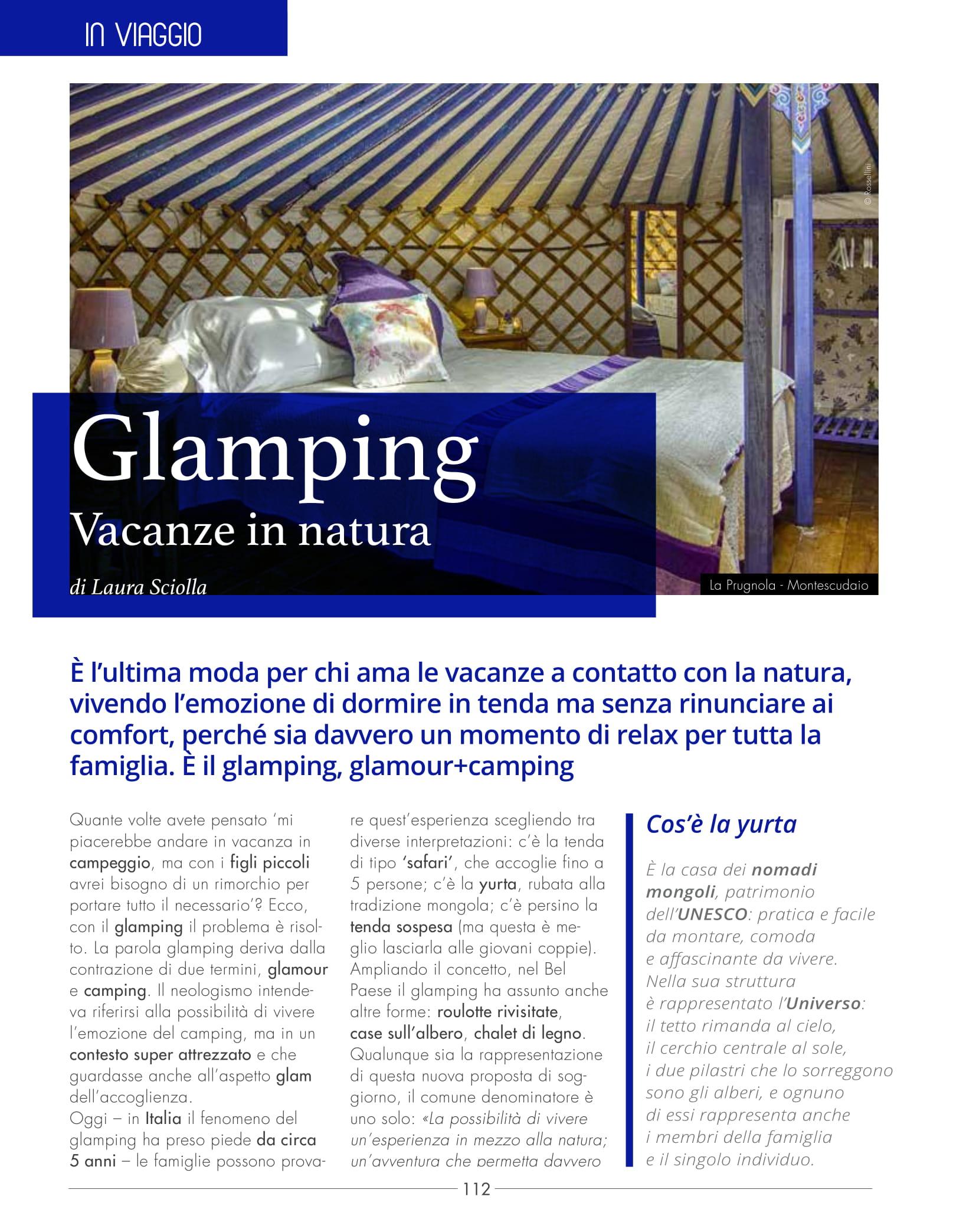 rivista nascere mamma parla del glamping