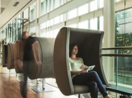 donna seduta leggendo un libro nella biblioteca