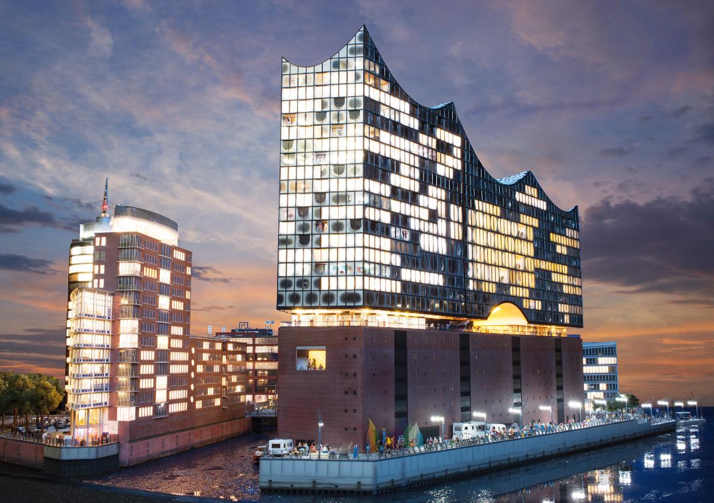 L'edificio della Elbphilharmonie di Amburgo, riprodotto a Miniatur Wunderland