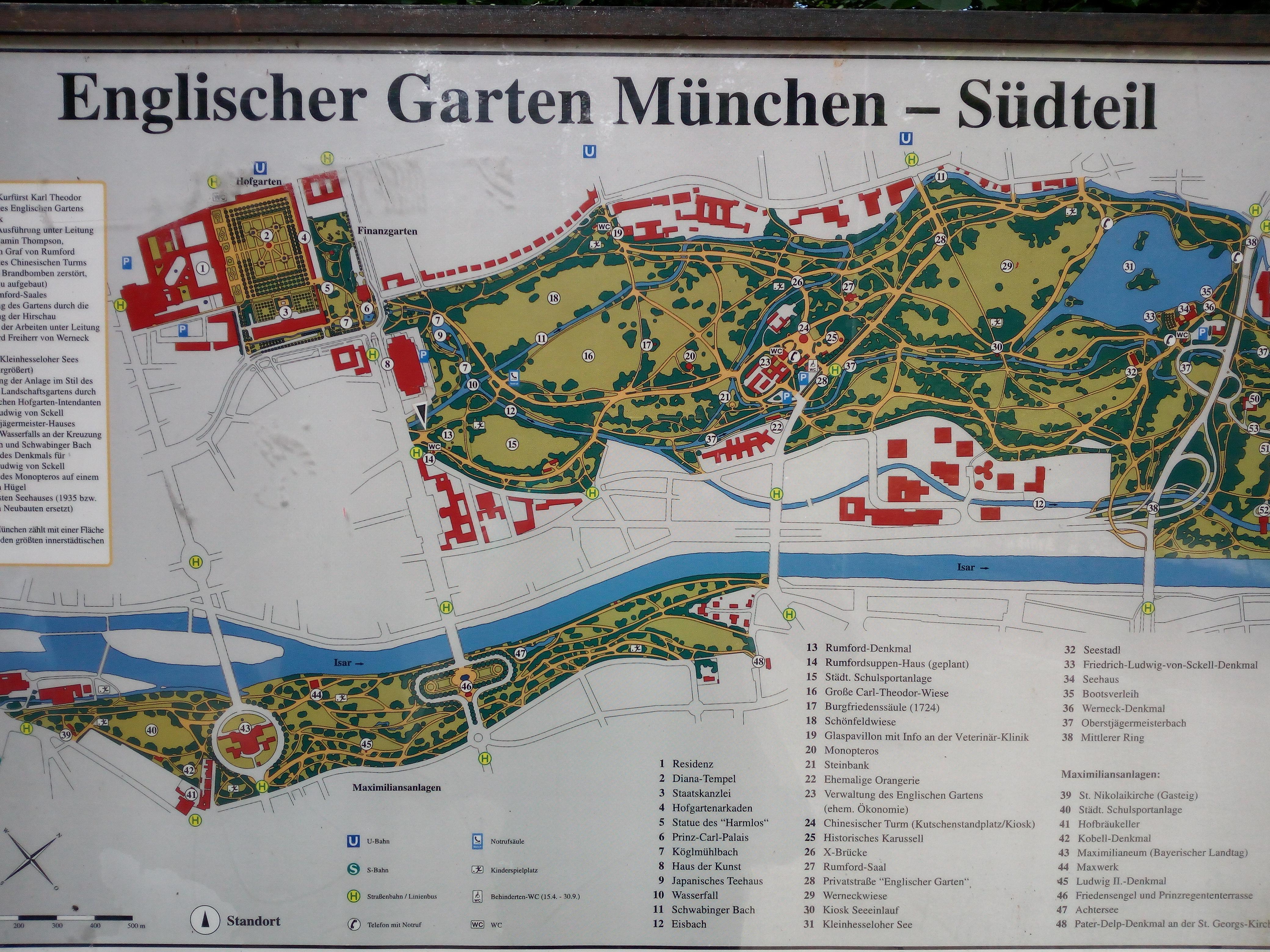 Mappa dell'Englischer Garten di Monaco di Baviera