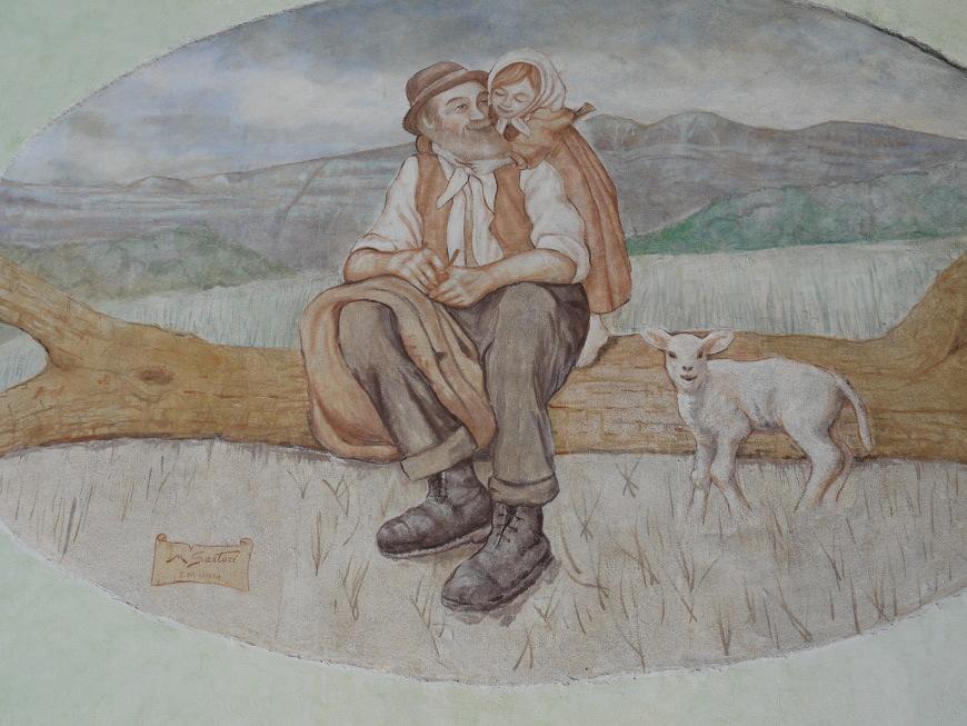 Guardia, dipinto su una parete di una casa