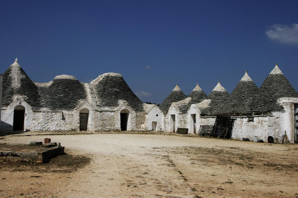 Apulian trulli in a field