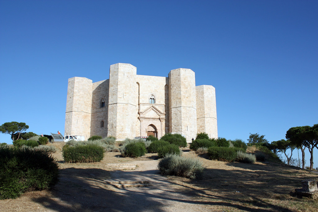 Castel del Monte with its octagonal plan, located on a small hill, in Alta Murgia, Apulia