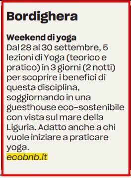 weekend di yoga con ecobnb in liguria