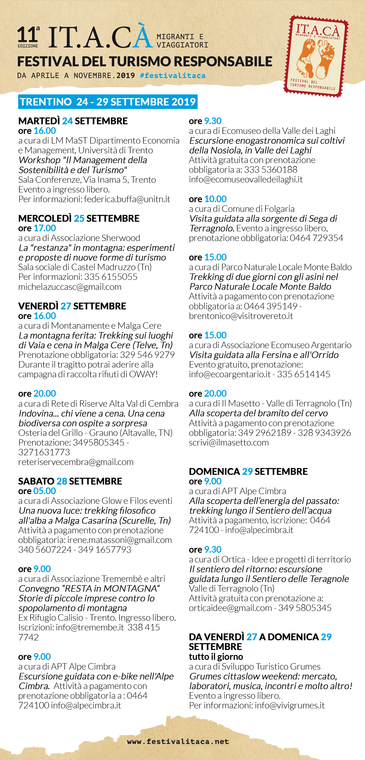 PROGRAMMA DEL FESTIVAL IT.A.CÀ IN TRENTINO