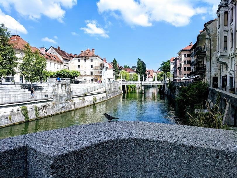Una strada di Lubiana, con ponti ed edifici storici