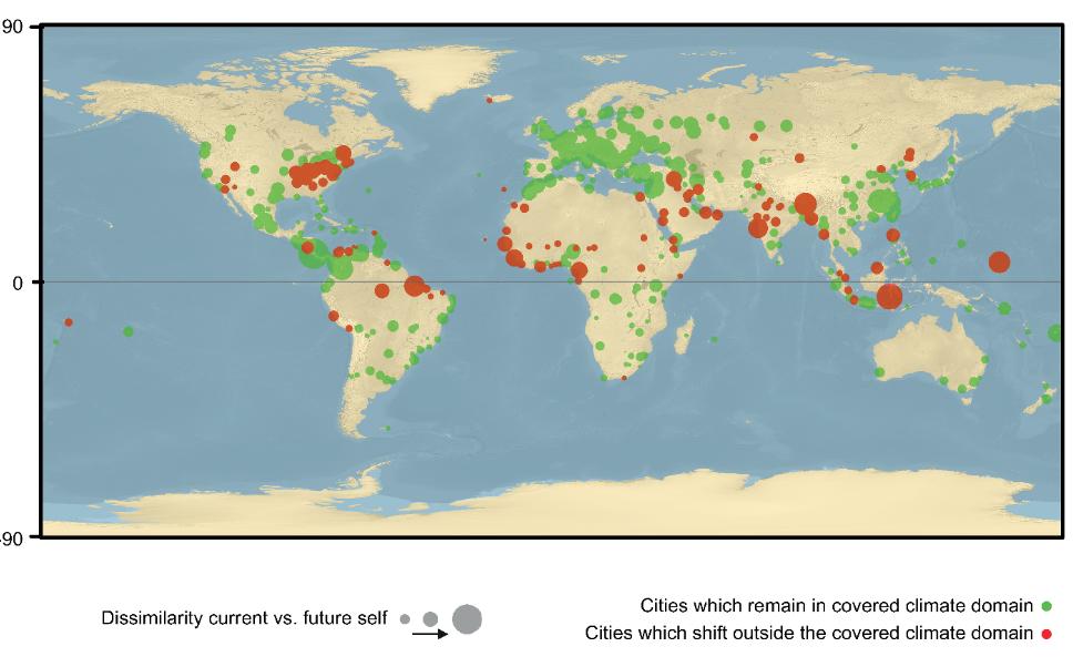 Mappa: In rosso le città del mondo il cui destino climatico è incerto, secondo lo studio condotto da Tom Crowther,ricercatore all'ETH Zürich