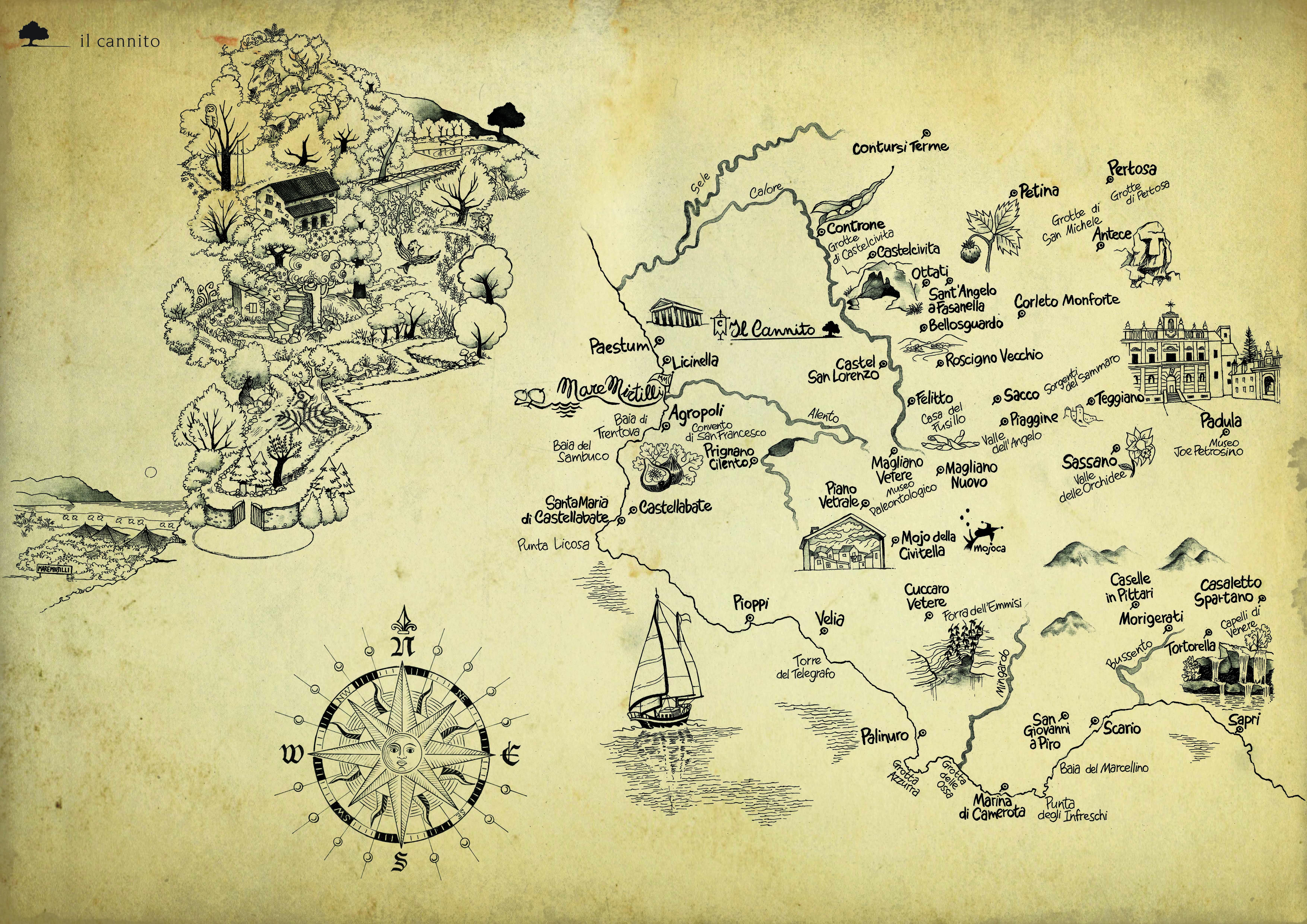 Mappa dei dintorni di Il Cannito, a cura di: Antonella Manzo