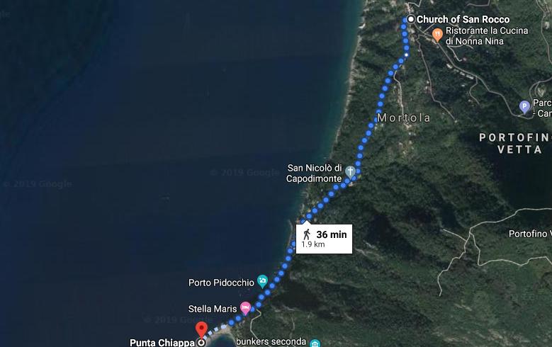 Da San Rocco a Punta Chiappa mappa itinerario