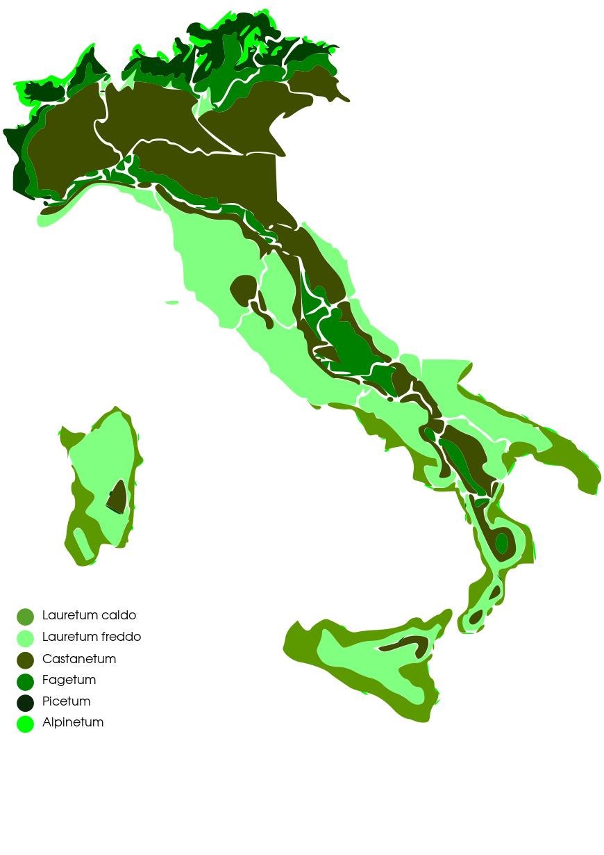 mappa delle zone fitoclimatiche italiane