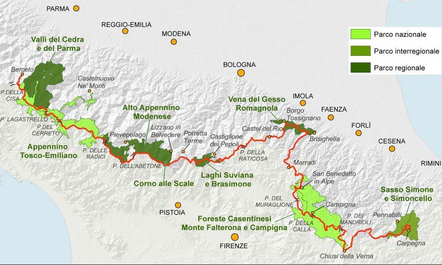 Mappa dell'itinerario dell'Alta Via dei Parchi da Berceto (Parma) a Carpegna (Marche)