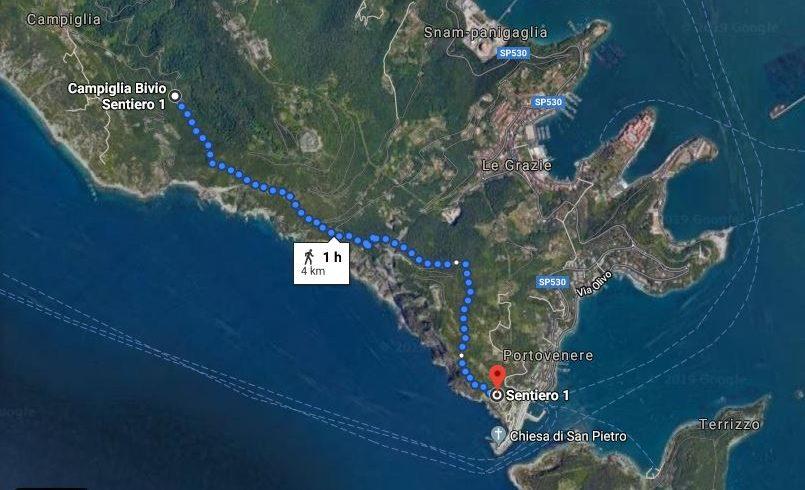 Da Campiglia a Portovenere mappa itinerario