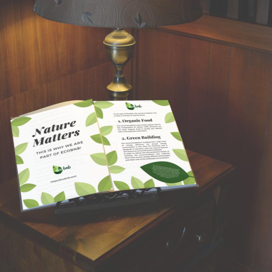 brochure in formato A4 per comunicare la sostenibilità della tua ospitalità