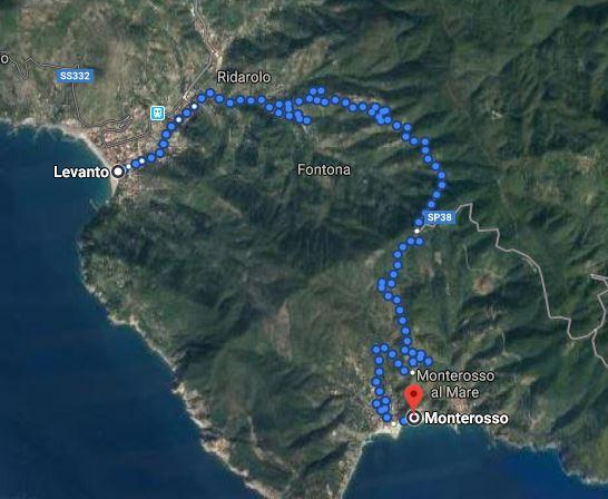 Da Levanto a Monterosso, mappa itinerario