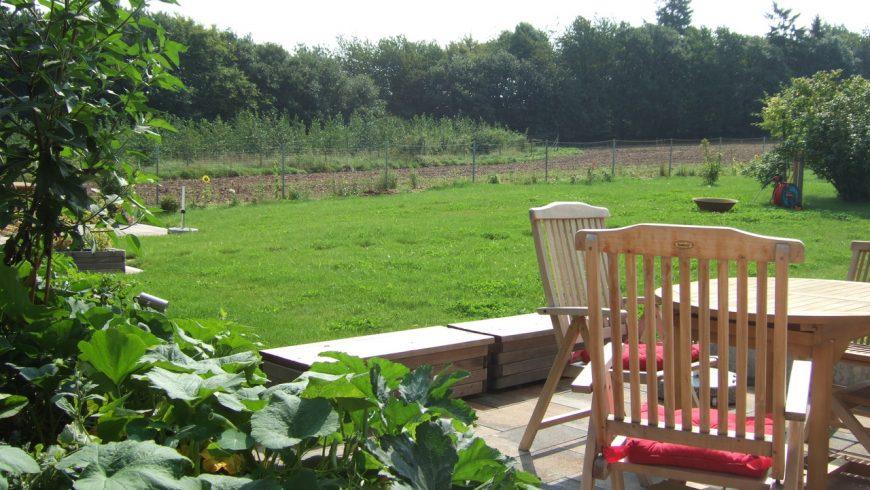 La terrazza della casa, che guarda verso il verde