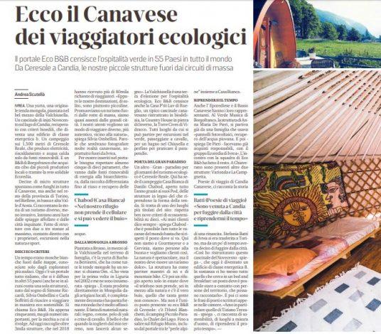 Articolo La Sentinella Ecobnb